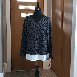 Cathy Daniels gray leopard print sweater!